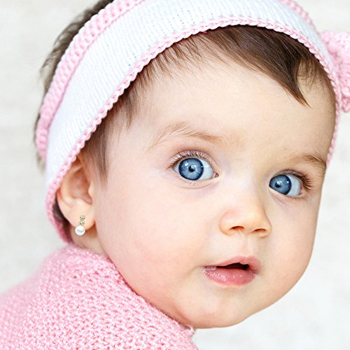 ed02f6603906 En venta Pendientes bebé niña perlas 8x4mm oro amarillo 18k circonitas  garras cierre rosca. Pendientes bebé niña perlas 4 mm ...