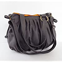 "Virine canvas pleats bag, purse, tote, shoulder bag, everyday bag, travel bag, cross body, women (11""long x 11.5""tall) grey color"