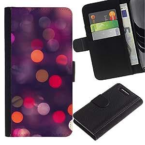 Planetar® Modelo colorido cuero carpeta tirón caso cubierta piel Holster Funda protección Para Sony Xperia Z3 Compact /D5803 / D5833 ( Glitter Dots Spots Pink Purple Orange )