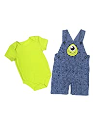 Disney Baby Boy's Monster Shortall/Creeper Shorts Set, Green, 9M