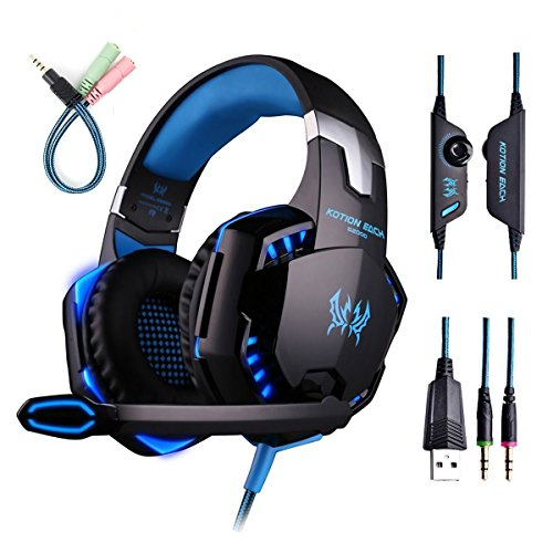 Gaming Headset with Mic for PC,PS4,Xbox One,Over-ear Headphones with Volume Control LED...