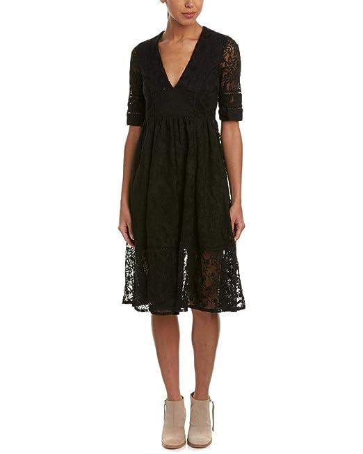 5447a2957514 Free People - Laurel codo de encaje mangas Casual vestido - negro ...