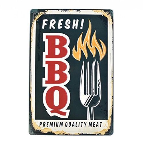 Homyl Placa Letrero Cartel de Pared Metálico de Estilo Retro Vintage Decoración para Barra Cafetería Restaurante - BBQ