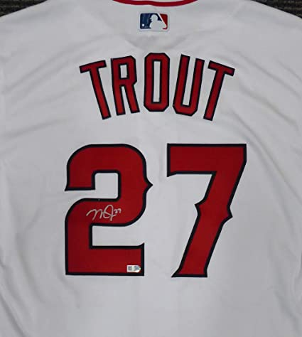7a9aa624a Image Unavailable. Image not available for. Color  Los Angeles Angels Mike  Trout Autographed Authentic White Majestic Flex Base Jersey ...