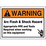 """Accuform Signs LELC370 Safety Label, Legend """"WARNING ARC FLASH & SHOCK HAZARD APPROPRIATE PPE AND TOOLS REQUIRED WHEN WORKING ON THIS EQUIPMENT"""", 3.5"""" Length x 5"""" Width x 0.006"""" Thickness, Adhesive Dura-Vinyl, Orange/Black on White"""