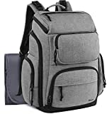 Dad Diaper Bag Backpack, Large Multi-Function Waterproof Baby Nappy Bags for Men Dad Mom w/Stroller Straps, Changing Pad & Insulated Pockets, Mancro Organizer Travel Backpack Fit 15 inch Laptop, Grey