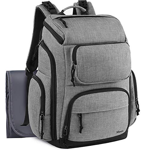 Backpack Diaper Bag, Large Multi-Function Waterproof Baby Nappy Bags for Men Dad Mom w/Stroller Straps, Changing Pad & Insulated Pockets, Mancro Organizer Travel Backpack Fit 15 inch Laptop, Grey