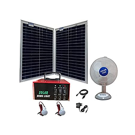 Belifal Solar Home Lighting System With 2Pcs 20Watts Solar Panel & 12V 7Ah Battery Box & DC Table Fan & 2Pcs DC Bulb Back Up Upto 6Hours
