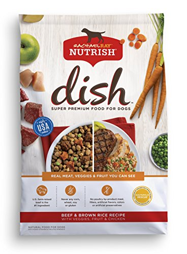 Rachael Ray Nutrish DISH Natural Dry Dog Food, Beef & Brown Rice Recipe with Veggies, Fruit & Chicken, 23 lbs