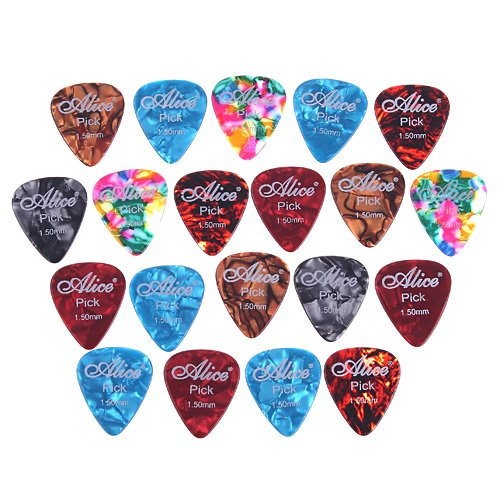 Kingzer 20 PCS 1.5mm Cool Celluloid Guitar Picks Plectrums Smooth Colorful
