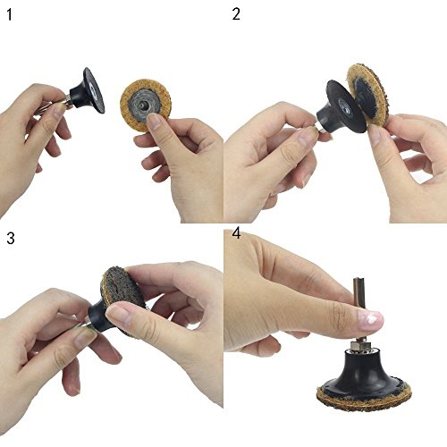 2 Inch Assorted Grit Roloc R-Type Sanding Discs Nylon Non Woven Fabric Quick-Change Surface Conditioning Disc, 10pcs each of Coarse/Medium/Fine Grit (total 30pcs) + 1/4'' Shank Disc Pad Holder by e-Rookie (Image #4)