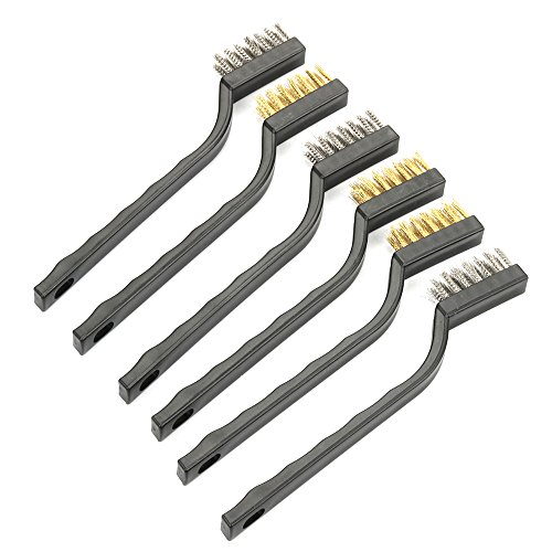 Highmoor 6 Pack of Mini Stainless Steel and Brass Wire Brush Set for Cleaning Welding Slag and Rust