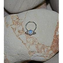 3mm Light Blue Opal SEPTUM RING // Silver Nose Ring Hoop 18 gauge - Forward Helix Earring - Septum Hoop - Daith Piercing - Nipple Jewelry