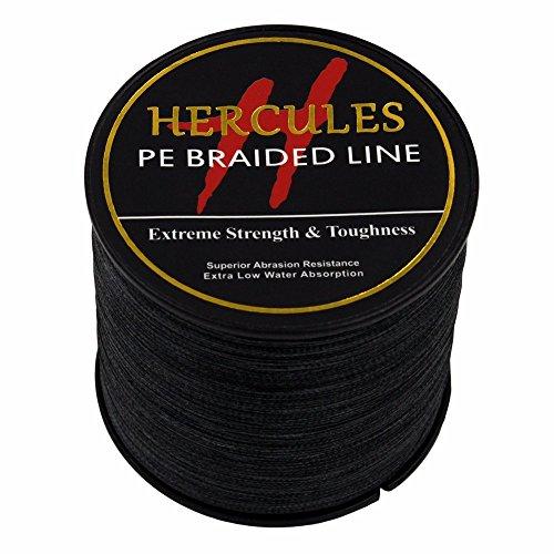 Hercules 2000m 2187yds Black 6lbs-100lbs Pe Dyneema Braid Fishing Line 4 Strands (15lb/6.8kg 0.16mm)