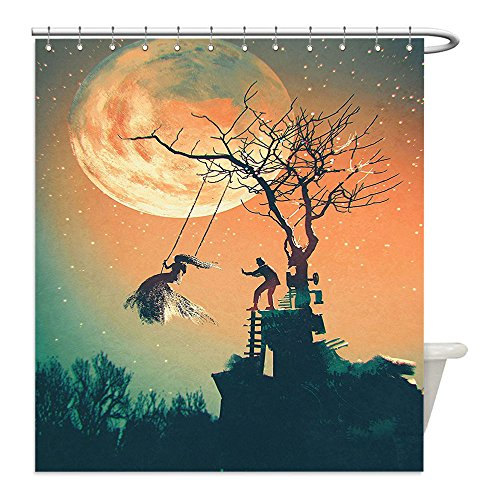 Liguo88 Custom Waterproof Bathroom Shower Curtain Polyester Fantasy World Decor Spooky Night Zombie Bride and Groom Lady on Swing Under Starry Sky Full Moon Decor Orange Teal Decorative (Zombie Bride And Groom Costume Ideas)