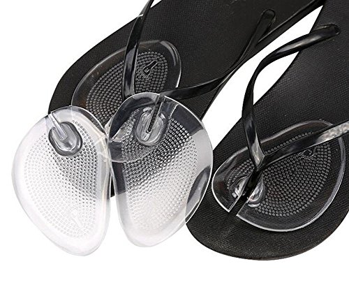 2Pairs Gel Thong Sandal Toe Protectors Forefoot Cushions Grip Pads Ball-of-Foot Cushions (Clear)