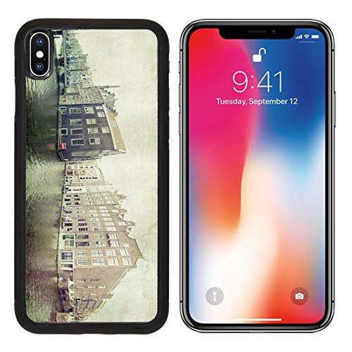 255 Brick - MSD Premium Apple iPhone X Aluminum Backplate Bumper Snap Case Vintage photo of traditional dutch buildings in Amsterdam IMAGE 19881438