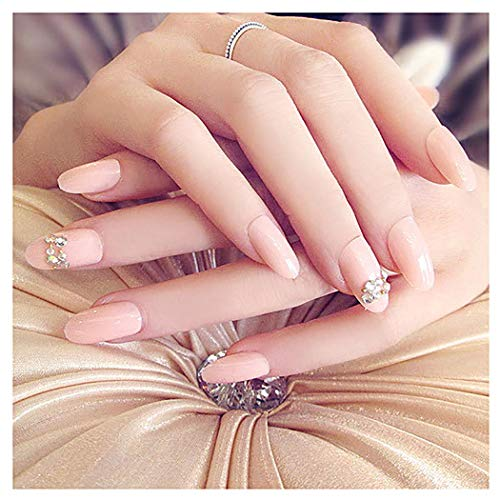 Fstrend False Nails Bling Rhinestone Bead Full Cover Acrylic French Fake Nails Wedding Birthday Party Clip on Nails for Women and Girls