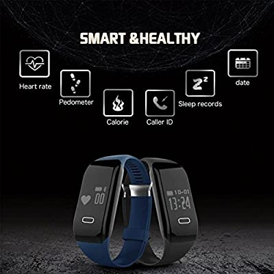 Kassica Waterproof Health Fitness Tracker with Heart Rate monitor Activity Smart Bracelet Wireless Wristbands Bluetooth Smart Watch Pedometer for IOS Android SmartPhone