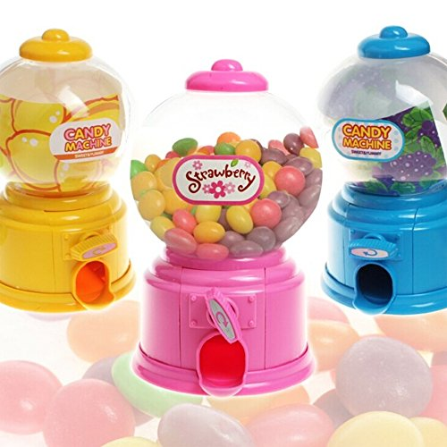 Qiyun Mini Candy Gumball Dispenser Vending Machine Coin Money Saving Box Piggy Bank Kids Toy