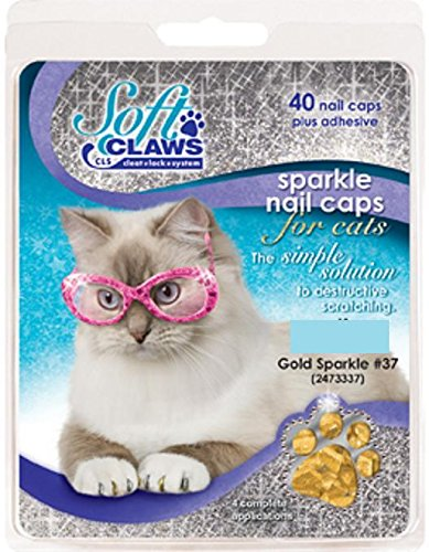 Image of Feline Soft Claw Nail Caps, Small, Gold Sparkle
