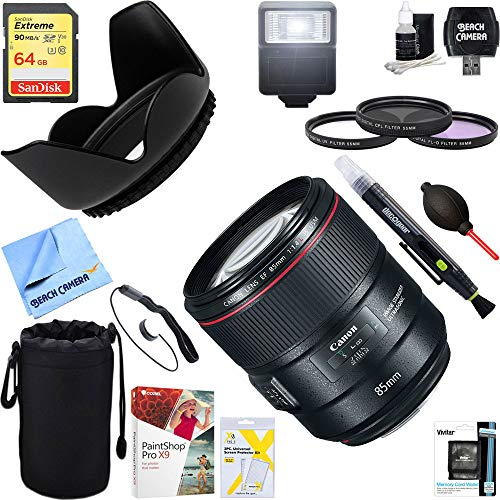 Canon (2271C002) 85mm f/1.4L IS USM Fixed Prime Digital SLR Camera Lens + 64GB Ultimate Filter & Flash Photography ()