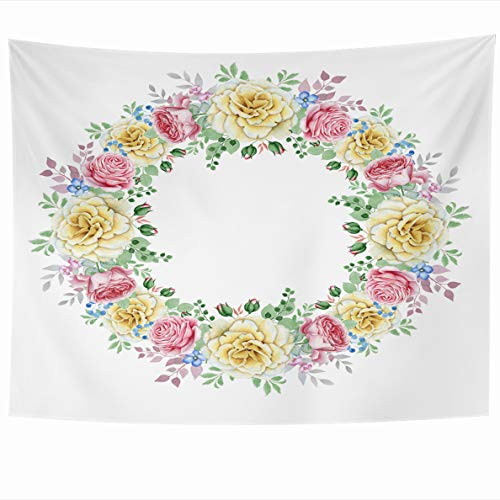 Ahawoso Tapestry 60x50 Inches Nature Pink Birthday Watercolor Rose Wreath White Holidays Holiday Yellow Blooming Blossom Bouquet Home Decor Wall Hanging Tapestries for Living Room Bedroom Dorm