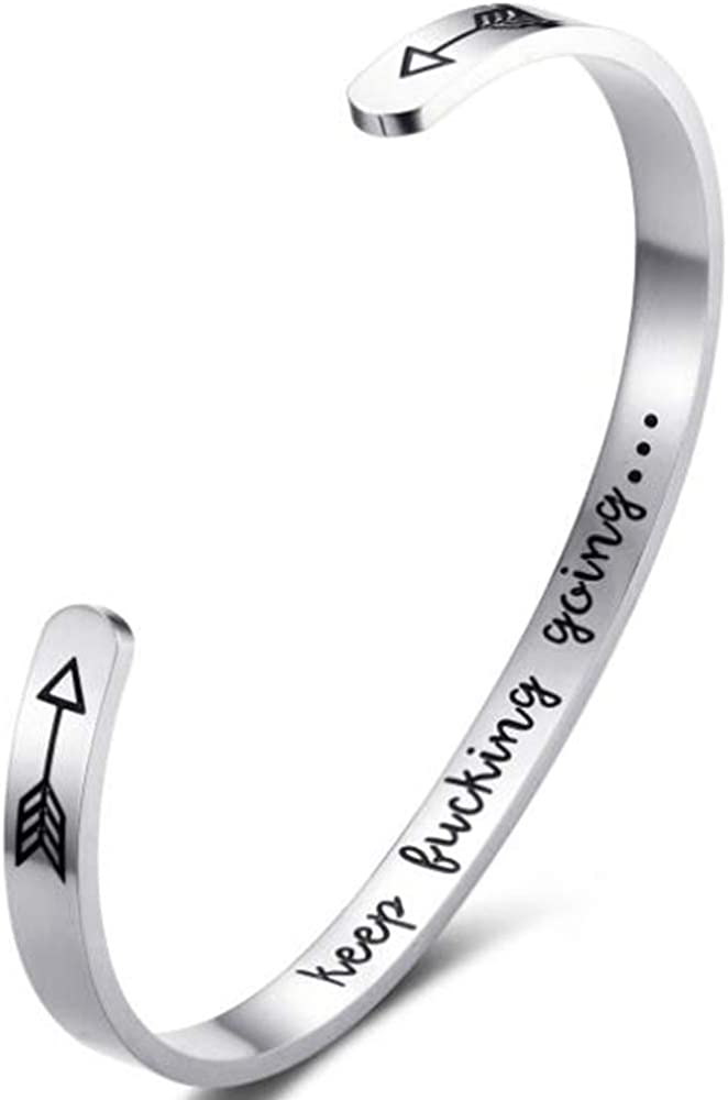 JUDE Stainless Steel Keep Going Inspirational Mantra Statment Cocktail Party Graduation Sports Bangle Bracelet