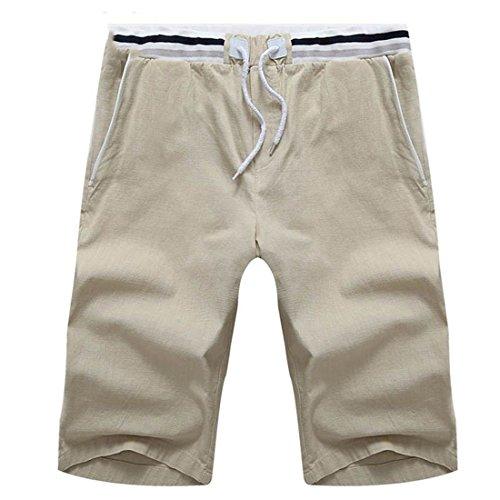 Cinco Flojos de Stazsx STAZSX Ocasionales Caqui Verano Apparel Hombres Elásticos Lino los de Pantalones Pantalones Cortos de qff6xvC