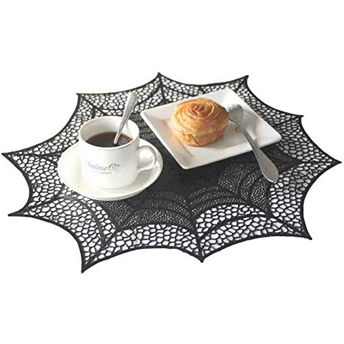 BERTERI Halloween Placemat, Heat-Resistant Spider Web Table Mats Place Mats for Halloween Party Kitchen Dining Room Decoration Prop