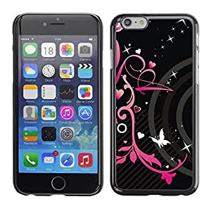 LOVE FOR iPhone 6 Pink Black Hearts Spring Butterfly Floral Personalized Design Custom DIY Case Cover
