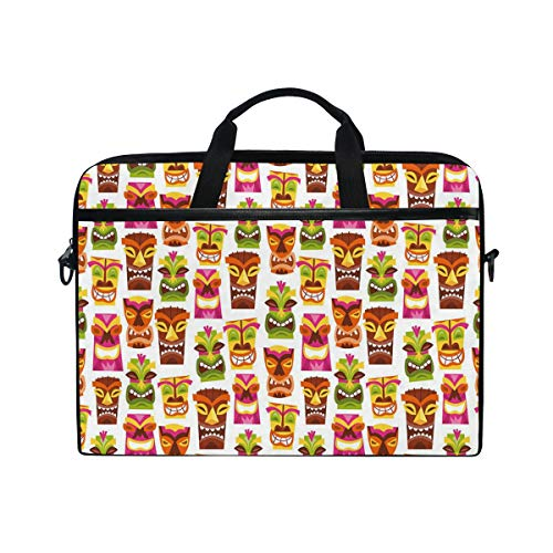 Retro Inspired Hawaiian Party Happy Tiki Pattern Colorful Multifunctional Laptop Briefcase Tablet Bag Tote Computer Case Handbag Pouch for Men Women