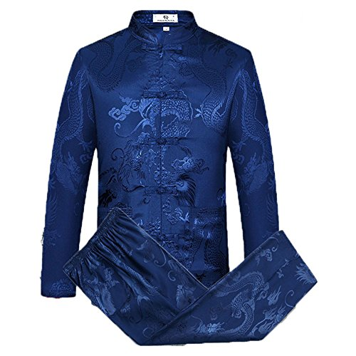 Tang Suit Men Traditional Chinese Clothing Suits Hanfu Cotton Long Sleeved Shirt Coat Mens Tops and Pants (Navy Blue, L)