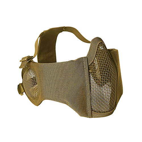 Unigear Airsoft Mask Half Face Mesh Tactical Mask with Ear Protection for Hunting, Paintball and Shooting (Tan)