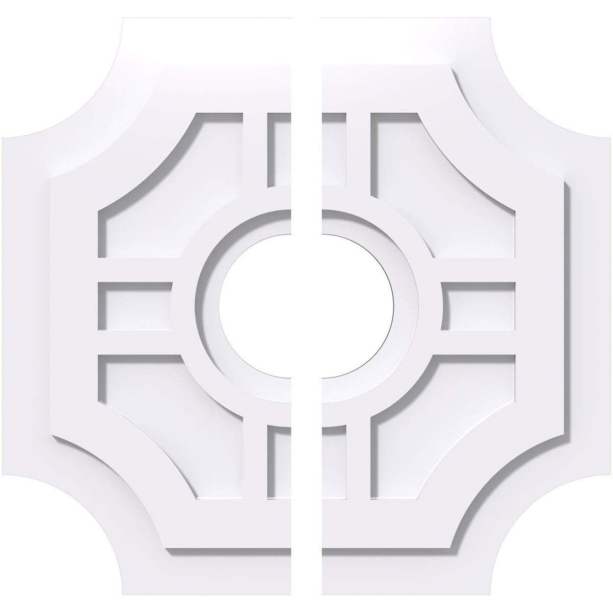 Ekena Millwork CMP20HS2-05000 20 in. OD x 5 in. ID Square Haus Architectural Grade PVC Contemporary Ceiling Medallion - 2 Piece