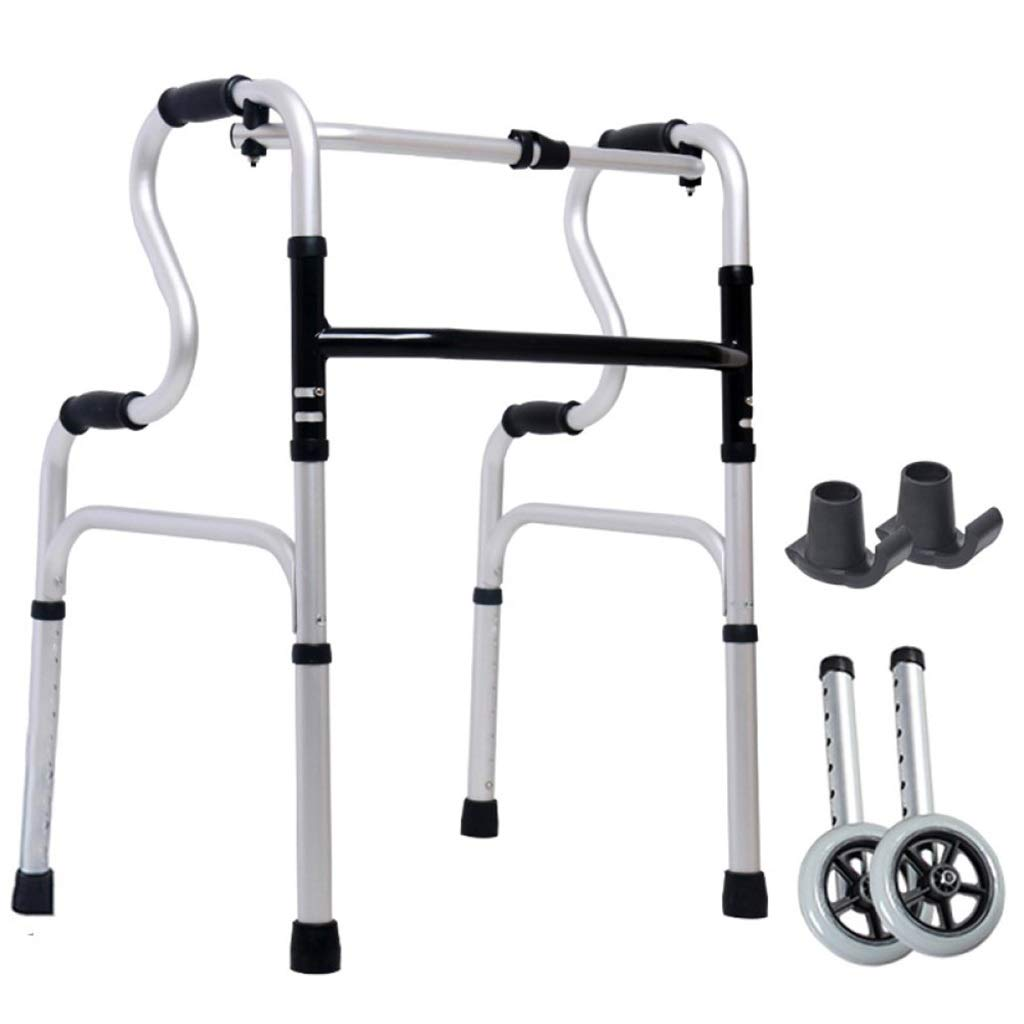Folding Lightweight Aluminium Walking Frame with Wheels with Limited Mobility for Handrails Auxiliary Walking Safety Walker (Size : with casters)