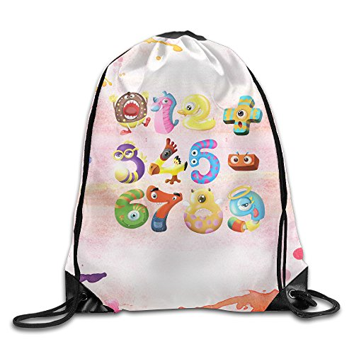 (ZOENA Colorful Cute Animals Number Durable Cinch Sackpack Camping Valise Bag)