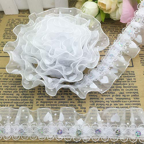 New Hot 5 Yards 79 Models Pleated Trim Mesh Lace Sewing Sequin Gathered Pick (Style - LS07 30mm Wide) ()
