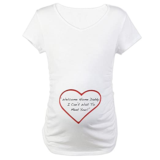 d67612d6d CafePress Welcome Home Daddy Cotton Maternity T-Shirt, Cute & Funny  Pregnancy Tee White