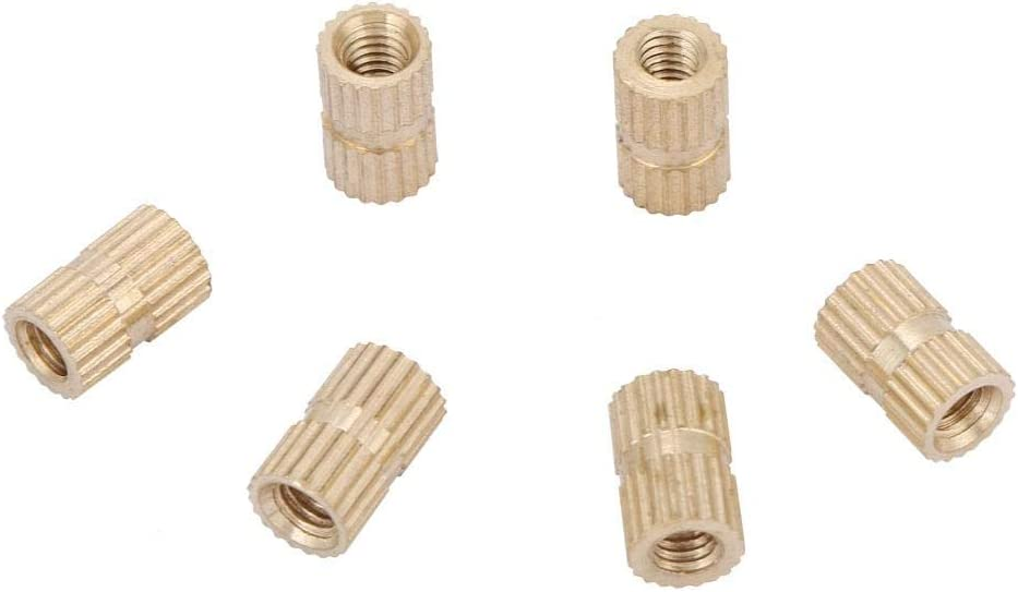 M4 Brass Thread Knurled Nuts Cylinder Knurled Round Molded-in Insert Embedment Nuts Assortment Kit M446.3(30pcs)