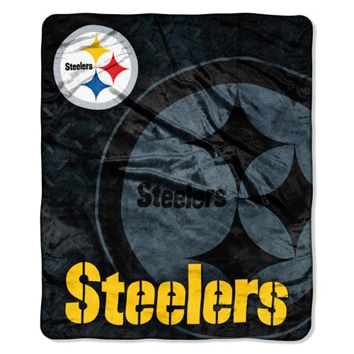Pittsburgh Steelers NFL Royal Plush Raschel Blanket (Roll Out Series) (50 x 60