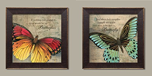 "Inspirational Butterfly ""If Nothing Ever Changed There Would Be No Butterflies"" and ""Just When The Caterpillar Thought The World Was Over, It Became A Butterfly""; Two 12x12in Gold Trim Brown Frames"