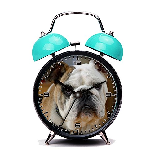 GIRLSIGHT Blue Alarm Clock, Retro Portable Twin Bell Beside Alarm Clocks with Nightlight-231.English Bulldog ()