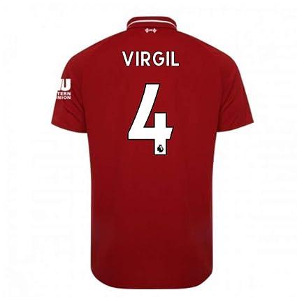premium selection 6d9b3 73976 2018-2019 Liverpool Home Football Soccer T-Shirt Jersey (Virgil Van Dijk 4)