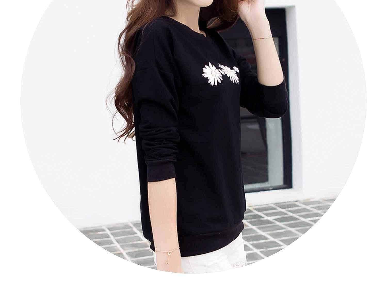Simple Fl Printed Hoodies Pullover Korean Autumn Black White Sweatshirt Leisure Top