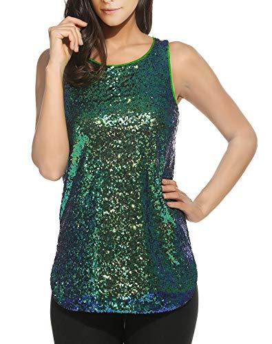 (Oyamiki Women's 1920S Style Glitter Sequined Vest Tank Tops Green/S)