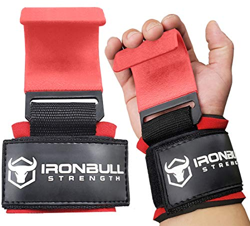 Iron Bull Strength Weight Lifting Steel Hooks (Pair) - Heavy Duty Lifting Wrist Straps - Deadlift Straps for Powerlifting- Thick Padded Workout Hook - Weightlifting Gloves for Heavy Lifting (Red)