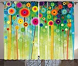 Ambesonne Watercolor Flower Home Decor Curtains, Abstract Dandelion Inspired Spiral Blooms Petals Nature Art Theme, Living Room Bedroom Window Drapes 2 Panel Set, 108 W X 84 L Inches, Multi