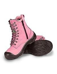 "Women's 8"" work boots with zipper - Pink"