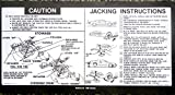 1980 CAMARO JACKING INSTRUCTIONS & STOWAGE (Regular Spare Tire - Wheel) DECAL - STICKER - All Mdels